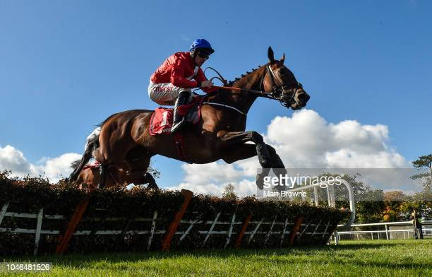 Killkenny Ireland 6 October 2018 Chief Justice with Davy Russell up jumps the last on their way to winning the Golf Memberships 2019 3 year old...