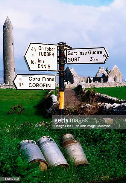kilmacduagh monastery, kilmacduagh, county galway, ireland - irish round tower stock photos and pictures
