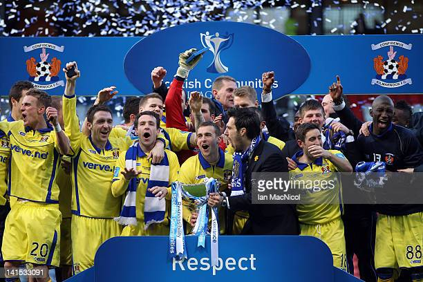Kilmarnock celebrate victory after the Scottish Communities League Cup Final between Celtic and Kilmarnock at Hampden Park on March 18 2012 in...