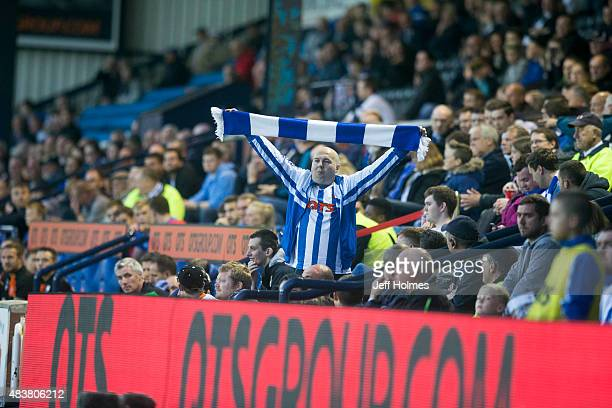 Kilmarnock fans during the Scottish premiership match between Kilmarnock and Celtic at Rugby Park on August 12 2015 in Kilmarnock Scotland