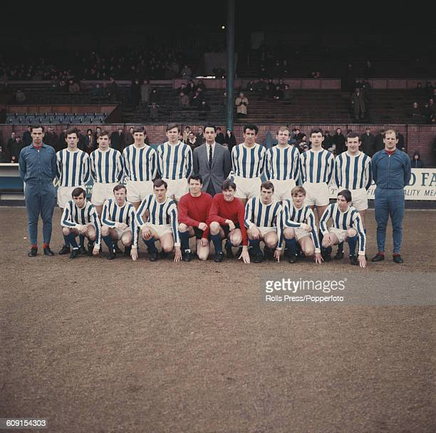 Kilmarnock FC 196869 team squad players pictured together on the pitch at Rugby Park stadium in Kilmarnock Scotland in 1969 Back row from left to...