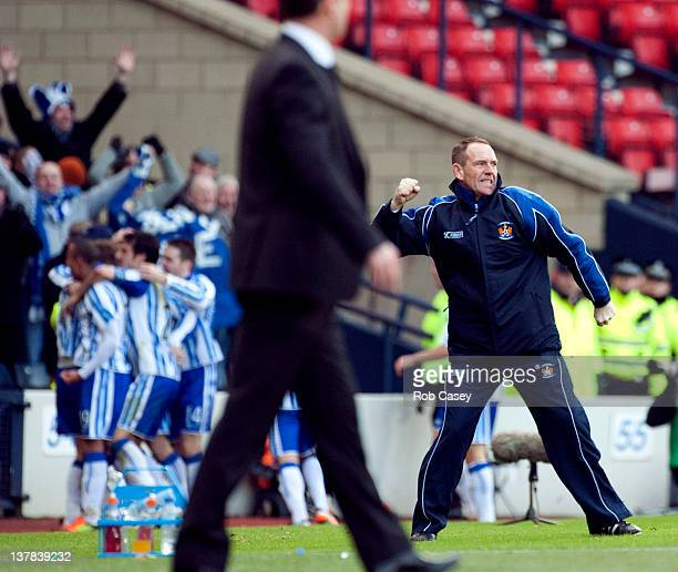 Kilmarnock manager Kenny Shiels celebrates after his son Dean scored the winning goal during the Scottish Communities Cup Semi Final match between...
