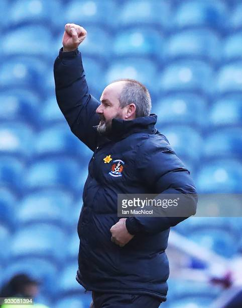 Kilmarnock manager Steve Clarke celebrates at full time during the Ladbrokes Scottish Premiership match between Rangers and Kilmarnock at Ibrox...