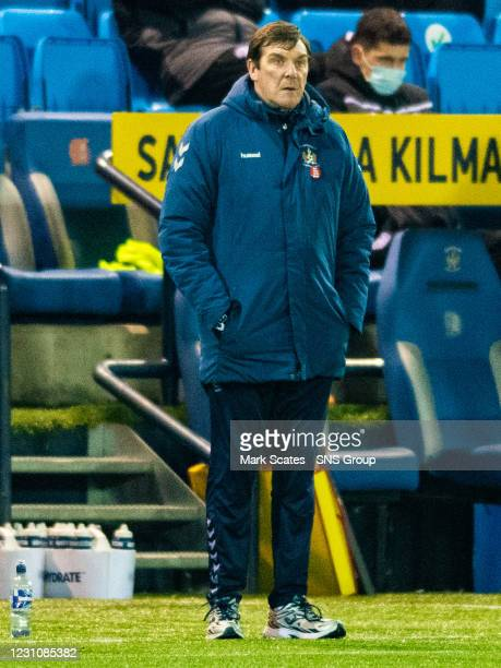 Kilmarnock manager Tommy Wright during a Scottish Premiership match between Kilmarnock and Motherwell at Rugby Park on February 10 in Kilmarnock,...