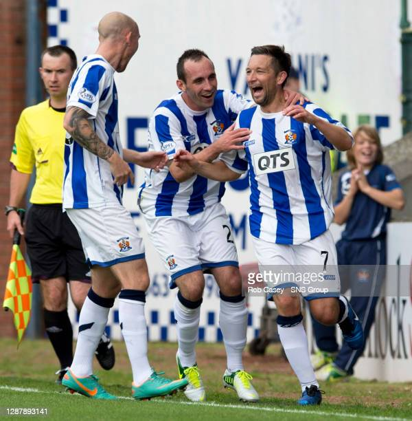 Barry Nicholson celebrates opening the scoring for Kilmarnock with team mates Mark Stewart and Sean Clohessy