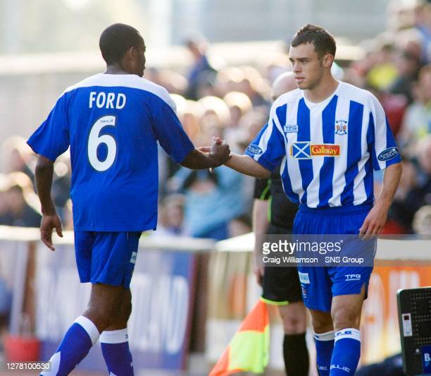 Having just returned from injury, unlucky Kilmarnock defender Simon Ford is replaced by Ryan O'Leary due to picking up another knock