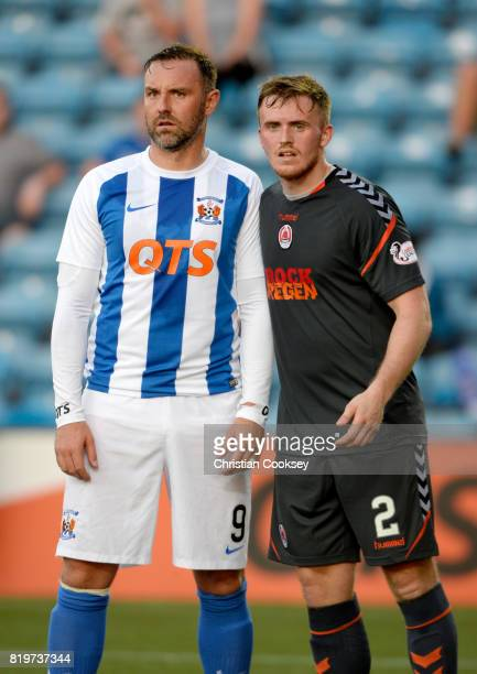Kilmarnock's Kris Boyd and Clyde's Callum Home during the Betfred League Cup game on July 18 2017 in Kilmarnock Scotland