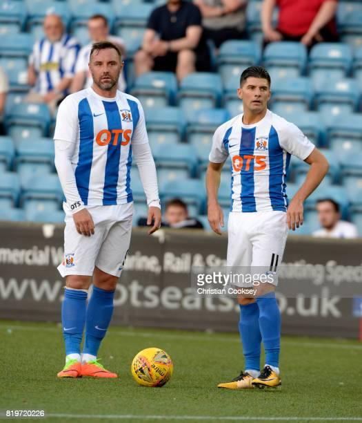 Kilmarnock's Kris Boyd and Jordan Jones during the Betfred League Cup game on July 18 2017 in Kilmarnock Scotland