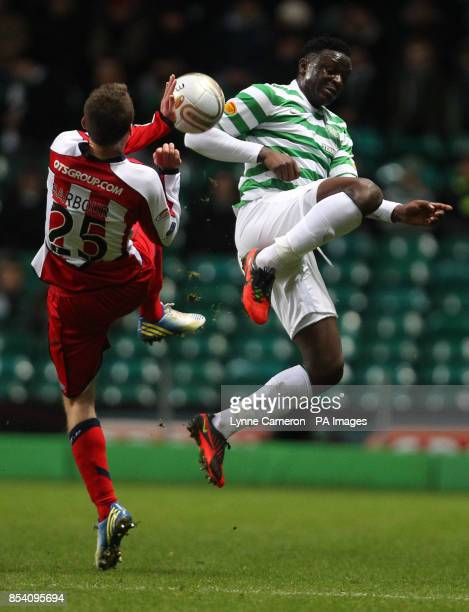 Kilmarnock's Ross Barbour and Celtic's Victor Wanyama battle for the ball during the Clydesdale Bank Scottish Premier League match at Celtic Park...