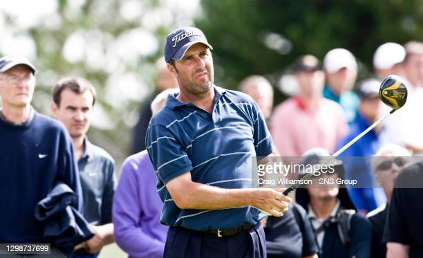Spanish star Jose Maria Olazabal watches on as he drives the ball up the fairway