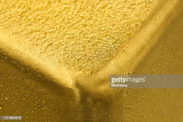 Kilogram gold ingot sits at the Uralelectromed Copper Refinery, operated by Ural Mining and Metallurgical Co. , in Verkhnyaya Pyshma, Russia, on...