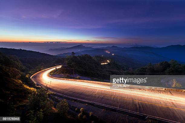 Kilometer 41st Curve with the sunrise and mountain