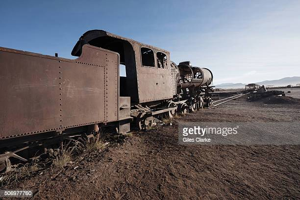 A 2 kilometer long line of old steam locomotives and carriages lie in the Uyuni desert It was built by British engineers at the end of the 19th...