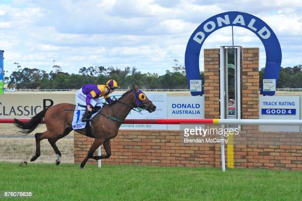 Kilowatt ridden by Teodore Nugent wins the Gilchrist Co BM64 Handicap at Donald Racecourse on November 19 2017 in Donald Australia