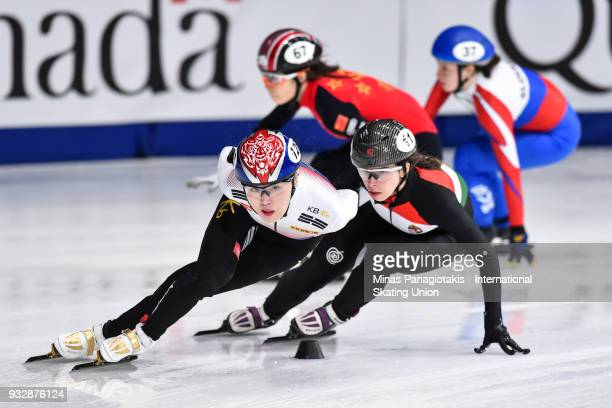 Kim A Lang of Korea competes in the women's 1500 meter heats during the World Short Track Speed Skating Championships at Maurice Richard Arena on...