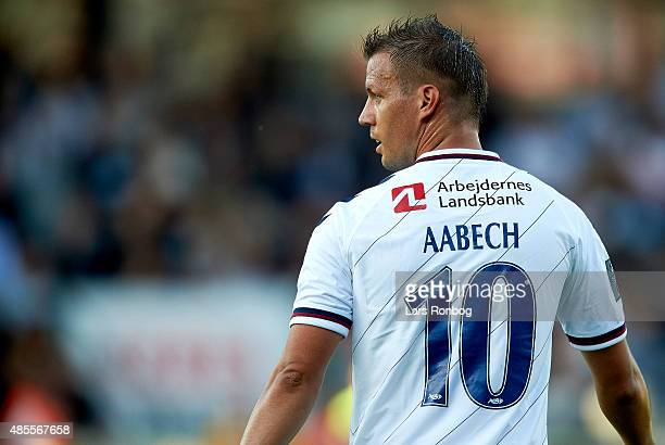 Kim Aabech of AGF Aarhus looks on during the Danish Alka Superliga match between AGF Aarhus and Esbjerg fB at Cares Park on August 28 2015 in Aarhus...