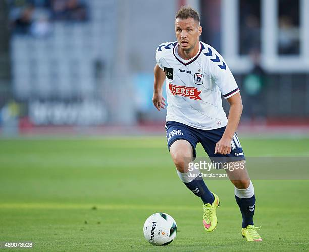 Kim Aabech of AGF Arhus controls the ball during the Danish Alka Superliga match between AGF Arhus and SonderjyskE at Ceres Park on September 18 2015...