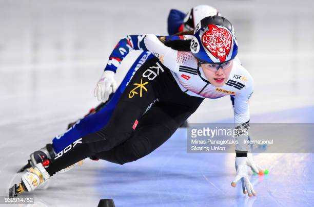 Kim ALang of Korea competes in the women's 1000 meter heats during the World Short Track Speed Skating Championships at Maurice Richard Arena on...
