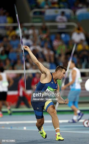 Kim Amb of Sweden competes in the Men's Javelin Throw Qualifying Round on Day 12 of the Rio 2016 Olympic Games at the Olympic Stadium on August 17...