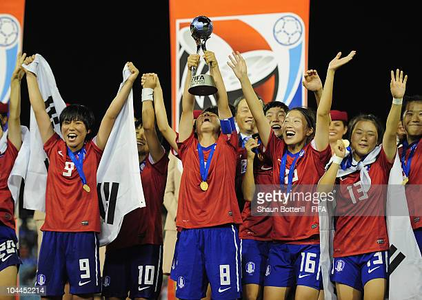 Kim Areum captain of South Korea lifts the trophy at the ceremony of the FIFA U17 Women's World Cup Final match between South Korea and Japan at the...