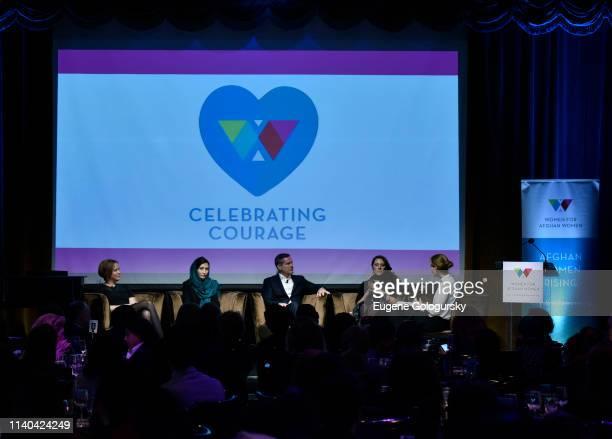 Kim Barker Medina Qasimi Christopher Kolenda Megan Corrado and Jenny Nordberg speak on a panel discussion at the WAW Expo 2019 at Edison Hotel on...