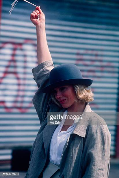 Kim Basinger at Coney Island for the filming of 9 1/2 Weeks circa 1980 New York
