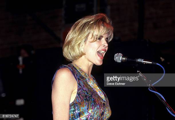 Kim Basinger performs singing at a Campaign rally for Jerry Brown at the Ritz New York March 25 1992