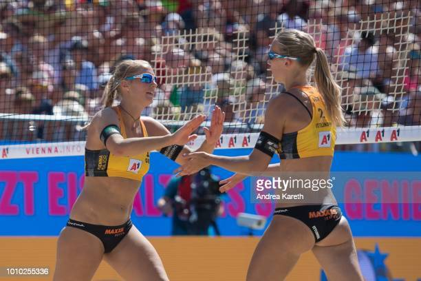 Kim Behrens of Germany and Sandra Ittlinger of Germany celebrate a point during the round of 16 match between Agatha Bednarczuk and Eduarda 'Duda'...