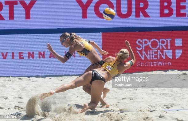 Kim Behrens of Germany and Sandra Ittlinger of Germany during the match in the women's round of the 16 between Agatha Bednarczuk of Brazil and...