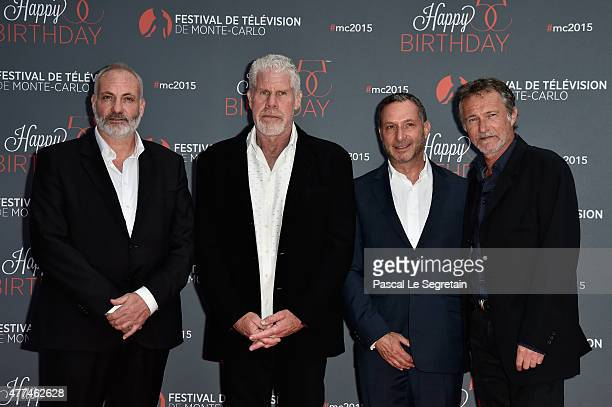 Kim Bodnia, Ron Perlman, Alan Poul and Bruno Wolkowitch attend the 55th Monte Carlo Beach anniversary as part of the 55th Monte Carlo TV Festival :...