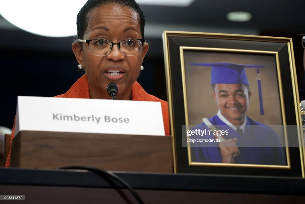 Kim Bose, mother of murdered Hampton University student Joseph Bose, talks about her son during a meeting with U.S. Senate Democrats in the visitors center at the U.S. Capitol March 7, 2018 in Washington, DC. Senate Democrats called the meeting to hear from people who they said were missing from the debate on guns, including the parents of young gun violence victims from Florida, Virginia and Connecticut; law enforcement officials; students and teachers.