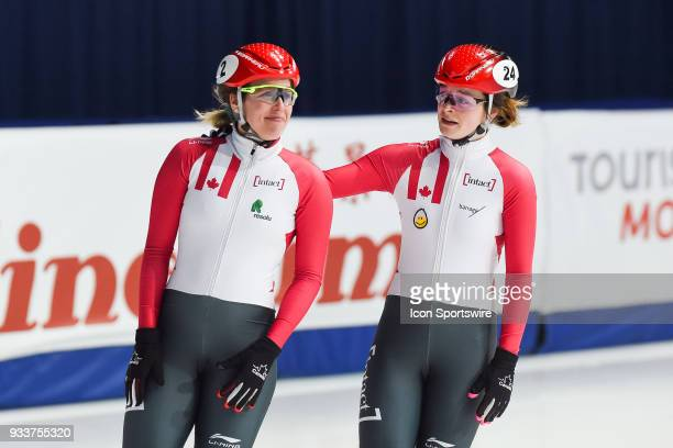 Kim Boutin is emotive beside her teammate Marianne StGelais after her last race after the 1000m Semifinals at ISU World Short Track Speed Skating...