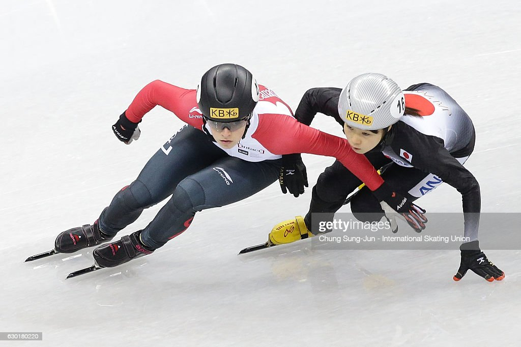 Kim Boutin of Canada and Hitomi Saito of Japan compete in the Ladies 1000m Qarterfinals during the ISU World Cup Short Track 2016 on December 18, 2016 in Gangneung, South Korea.