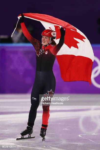 Kim Boutin of Canada celebrates winning silver in the Ladies' 1000m Short Track Speed Skating Final A on day thirteen of the PyeongChang 2018 Winter...