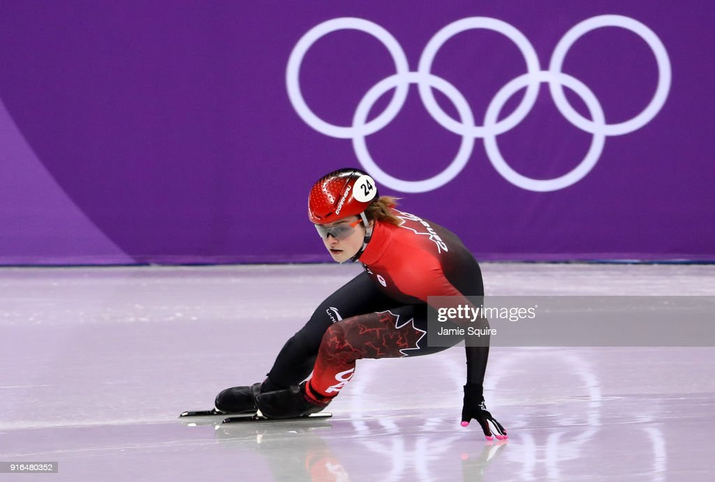 Kim Boutin of Canada competes during the Ladies' 500m Short Track Speed Skating qualifying on day one of the PyeongChang 2018 Winter Olympic Games at Gangneung Ice Arena on February 10, 2018 in Gangneung, South Korea.