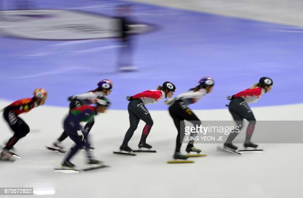 Kim Boutin of Canada competes during the women's 1500m final at the ISU World Cup Short Track Speed Skating in Seoul on November 18 2017 YeonJe