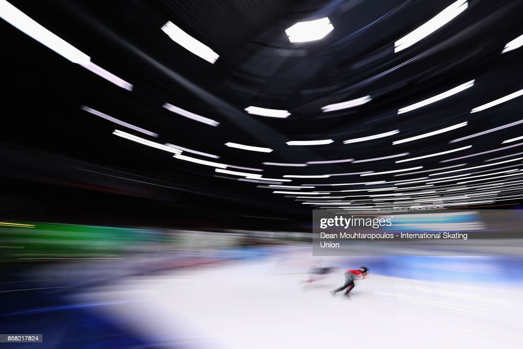 Kim Boutin of Canada competes in the 1000m Preliminaries during the Audi ISU World Cup Short Track Speed Skating at Optisport Sportboulevard on October 6, 2017 in Dordrecht, Netherlands.