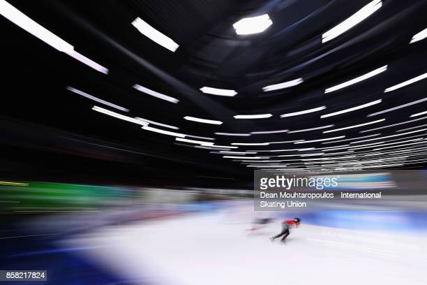 Kim Boutin of Canada competes in the 1000m Preliminaries during the Audi ISU World Cup Short Track Speed Skating at Optisport Sportboulevard on...