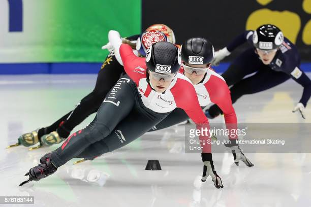 Kim Boutin of Canada competes in the Ladies 1000m Semifinals during during the Audi ISU World Cup Short Track Speed Skating at Mokdong Ice Rink on...