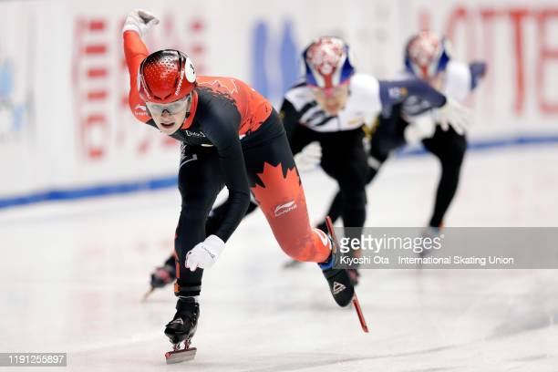 Kim Boutin of Canada competes in the Ladies' 500m Semifinal during the ISU World Cup Short Track at the Nippon Gaishi Arena on December 01, 2019 in...