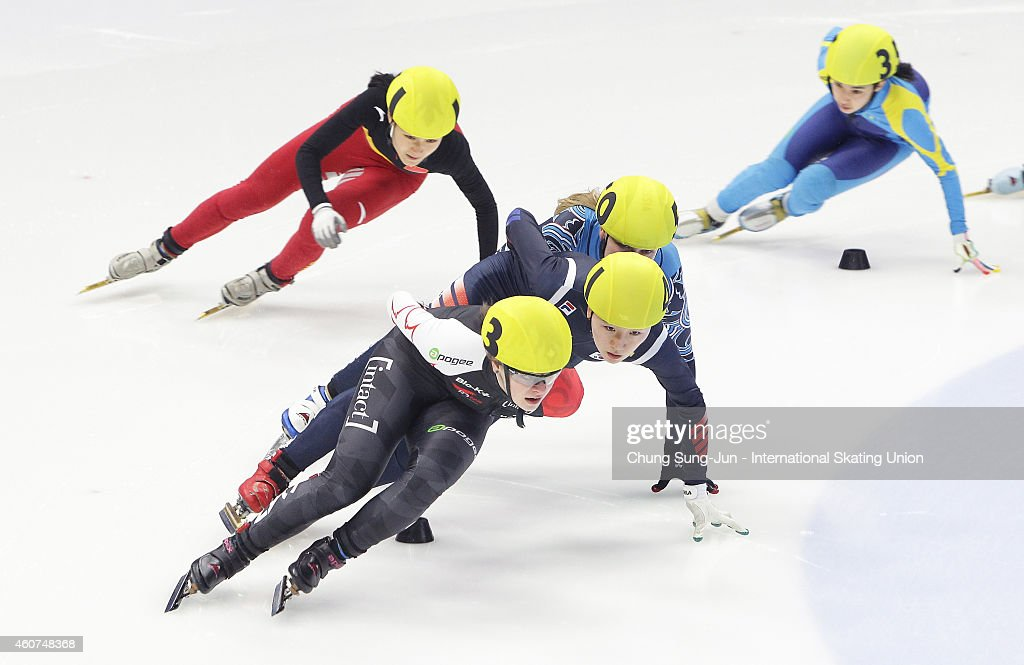 Kim Boutin of Canada, Hoh Do-Hee of South Korea, and Li Hongshuang of China compete in the Ladies 1500M Semifinals during the ISU World Cup Short Track Speed Skating 2014/15 - Seoul at Mokdong Ice Rink on December 21, 2014 in Seoul, South Korea.