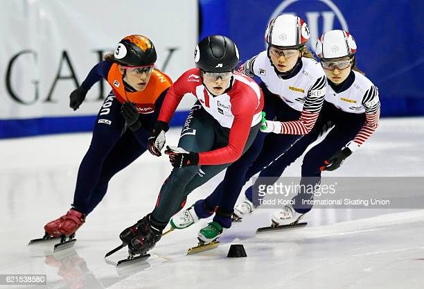 Kim Boutin of Canada leads Minjeong Choi of Korea and teammate Suk Hee Shim with Suzanne Schulting of the Netherlands in the women's 1000 meter...