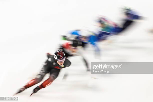Kim Boutin of Canada leads the pack in the Ladies 1500m quarterfinals during the day one of ISU World Cup Short Track at Beijing Capital Gymnasium on...