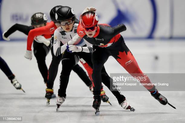 Kim Boutin of Canada skates in front and won the ladies 1000 meter final A during the ISU Short Track World Cup Day 2 at Tazzoli Ice Rink on February...