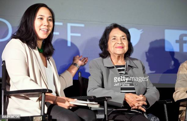P Kim Bui moderates a panel featuring Dolores Huerta at The Harvey B Gantt Center for African American Arts Culture on May 11 2017 in Charlotte North...