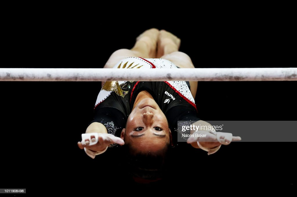 Kim Bui of Germany competes during the Uneven Bars Final on Day Four of the European Championships Glasgow 2018 at The SSE Hydro on August 5, 2018 in Glasgow, Scotland.
