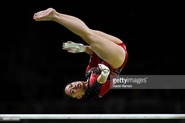 Kim Bui of Germany competes on the uneven bars during Women's qualification for Artistic Gymnastics on Day 2 of the Rio 2016 Olympic Games at the Rio...