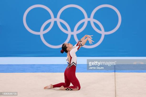Kim Bui of Team Germany competes in the floor exercise during Women's Qualification on day two of the Tokyo 2020 Olympic Games at Ariake Gymnastics...