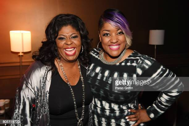 Kim Burrell and Anita Wilson pose backstage at the 2017 ESSENCE Festival presented by CocaCola at Ernest N Morial Convention Center on July 2 2017 in...