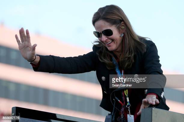 Kim Burton mother of Harrison Burton driver of the DEX Imaging Toyota reacts to Harrison winning the NASCAR KN Pro Series East Championship following...